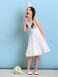 Lanting Bride® Knee-length Lace Junior Bridesmaid Dress A-line / Princess Jewel with Sash / Ribbon