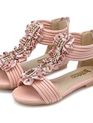 Sandales ( Vert/Rose ) - Cuir - Confort/Escarpin-sandale/Bout rond/Bout ouvert