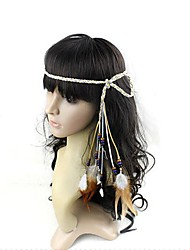 Boho Hippie Feather Drop Beads Carnival Headband