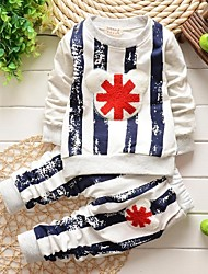 Boy's Fashion Pure Cotton Stripe Sports Clothing Sets