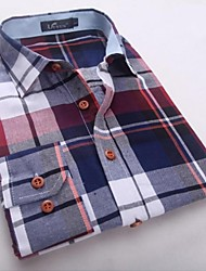Men's Long Sleeve Shirt , Cotton/Polyester Casual/Plus Sizes Plaids & Checks