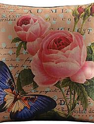 grandes flores vermelhas e borboleta algodão / fronha decorativo linho impressa
