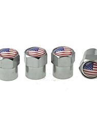 pneu de voiture de luxe drapeau national vannes de cuivre bouchon de décoration (usa 4 pièces par paquet)