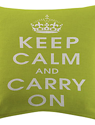 """Green """"Keep Calm And Carry On"""" Cotton/Linen Printed Decorative Pillow Cover"""