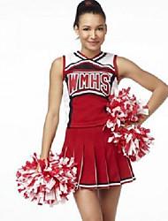 Pretty Female Cheerleaders Sleeves Red Halloween Uniforms