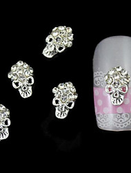 10pcs Hallowmas Rhinestone Skull Alloy DIY Nail Art Decoration