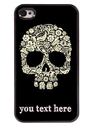 Personalized Case Flower and Skull Design Metal Case for iPhone 4/4S