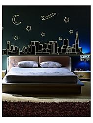 decalques de parede adesivos de parede, estilo cidade de fluorescência de parede pvc adesivos