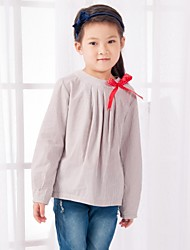 Girl's Solid Blouse,Cotton All Seasons Brown