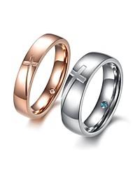 mode contractés deux tonalités croisées cristal forage quelques acier de titane anneaux (jeu de 2)