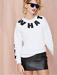 HYD Women's Euramerican Style Crew Neck Thread Binding Letter Sets The Stars Printed Fleece