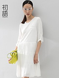 Women's White Dress , Casual ¾ Sleeve