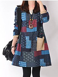 yuntuo®women diseño v-cuello y el color es el vestido de algodón de manga larga