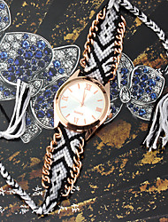 Eternal Women's Fashion Floral Print Weaving Bracelet Watch