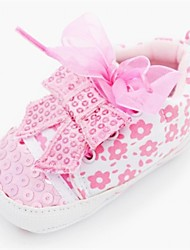 Girls' Spring Fall Fabric Outdoor Dress Casual Flat Heel Bowknot Sequin Pink