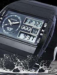 plaza de goma esfera de un reloj deportivo de la banda de los hombres de moda reloj resistente al agua analógico-digital (colores surtidos)
