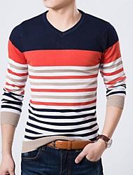 Men's V-Neck Striped Sweater