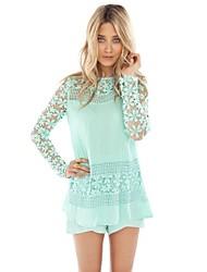 Women's Floral Crochet Lace Long Sleeve Chiffon Blouse (More Colors)