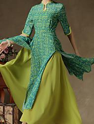 moda femenina leneve retro elegante vestido media manga