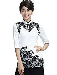 Frauen Kragen Tang-Anzug Baumwolle mit kurzen Ärmeln Chinese Dress