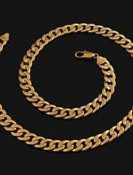 chaîne de trottoir 60cm hommes plaqué or colliers or de la chaîne (largeur 10 mm)
