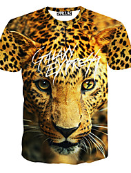 Notch Men Floral Print Causual Fashion Short Sleeve T-shirt