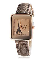 Paris Tour женщин площади набора PU Группа кварцевые наручные часы (разных цветов)