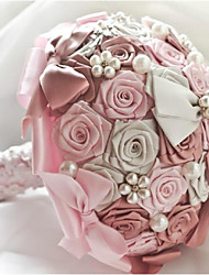 Hand Made Top quality Silk Rose Pearl Beaded Brooch Silk Rose Flower Bridal Wedding Bouquet