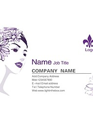 Personalized Business Cards 200 PCS Classic Purple Pattern 2 Sided Printing of Fine Art Filmed Paper
