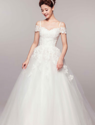 Ball Gown Off-the-shoulder Court Train Organza Wedding Dress