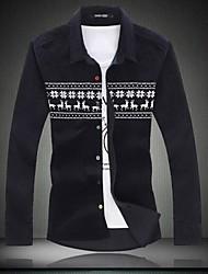 Men's Print Casual Shirt,Cotton Long Sleeve
