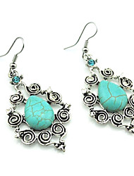 Vintage Antique Silver Turquoise with Crystal Dangle Drop Earrings (Green) (1Pair)