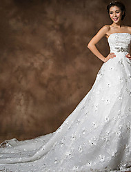 Vestido de Boda - Blanco Corte en A Capilla - Sin Tirantes Encaje