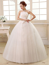 Ball Gown Strapless Floor Length Satin Tulle Wedding Dress with Sequin Flower Side-Draped