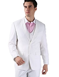 Suits Tailored Fit Slim Notch Single Breasted Two-buttons Solid 3 Pieces White None (Flat Front) None (Flat Front)
