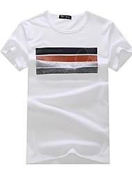 Informeel - Gestreept - Korte Mouw - MEN - Katoen - T-shirts - Zwart/Groen/Wit/Geel/Grijs