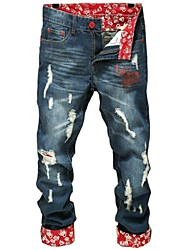 Men's Straight Blue Jeans, Print Cuff Holes