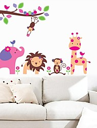 Wall Stickers Wall Decals, Cartoon Animals Zoo PVC Wall Stickers