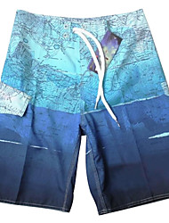 Men's Personality Map Pattern Leisure Surf Board Short Quick Dry Beach  Pants