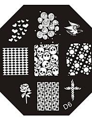 nail art estampage l'image timbre plaque modèle série d no.6