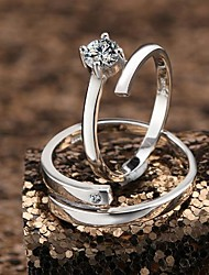 Men's/Couples'/Women's Sterling Silver Ring Cubic Zirconia Sterling Silver