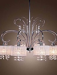 Continental Lron Chandelier Living Room White Brushed Cover Restaurant  8 Lights