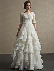 A-line Floor-length Wedding Dress -Scalloped-Edge Lace