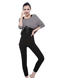 Damen Yoga Anzüge Langärmelige Grau / Schwarz Yoga M / L / XL