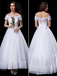 LAN TING BRIDE A-line Princess Wedding Dress See-Through Ankle-length Off-the-shoulder Lace Tulle with Appliques Bow Button