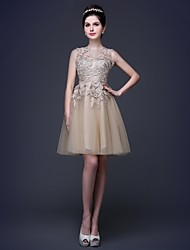 Cocktail Party Dress - Floral / Elegant A-line / Princess Scoop Knee-length Lace / Tulle with Embroidery