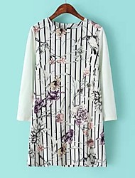 Women's Casual/Daily Shift Dress,Striped / Print Round Neck Above Knee Long Sleeve White Spring / Fall