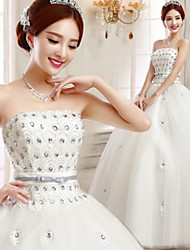 Ball Gown Wedding Dress-Floor-length Strapless