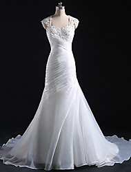 Trumpet/Mermaid Wedding Dress Court Train Straps Tulle
