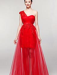 Fiesta formal Vestido - Rojo Corte Recto Hasta el Suelo - Solo Hombro Tul